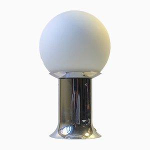 Space Age Tischlampe aus Chrom & Opalglas von Lyfa, 1970er