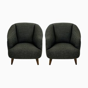 Vintage Woolen Lounge Chairs by Guglielmo Ulrich, 1950s, Set of 2