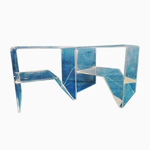 Space Age Acrylic and Plexiglass Side Tables with Magazine Rack, 1970s, Set of 2