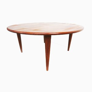 Round Solid Teak Coffee Table from A/S Mikael Laursen, 1960s
