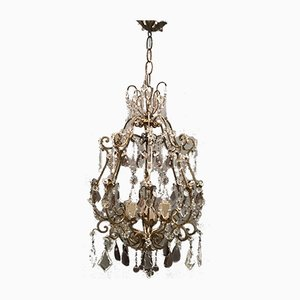Large Vintage Crystal Beaded Chandelier with Murano Glass Drops
