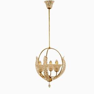 Lampada da soffitto vintage in vetro di Murano di Ercole Barovier per Barovier & Toso, anni '30
