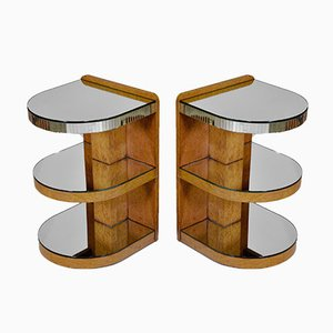 Art Deco Birdseye Maple & Mirrored Glass Bedside Tables, 1930s, Set of 2