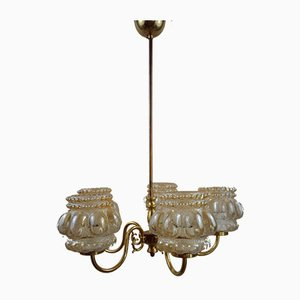 Bubble Glass and Brass Chandelier in the Style of Helena Tynell for Limburg, 1960s
