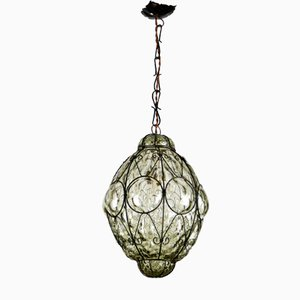 Italian Murano Caged Glass Pendant Lamp, 1960s