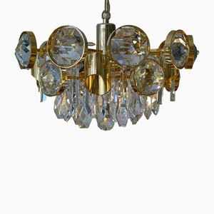 Gold-Plated Brass Chandelier with Crystals from Palwa, 1960s