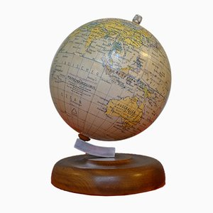 Small 11 cm Globe on Wood Stand from Paul Räth & Hermann Haack, 1940s