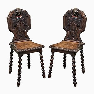 Eichenholz Stühle, 2er Set, 19. Jh