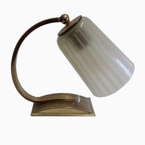 Lampe de Bureau Antique Art Déco en Laiton et Verre, 1930s