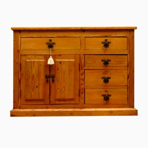 Antique Victorian Rustic Pine Sideboard Kitchen Island