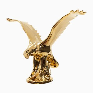 Hollywood Regency Italian 24-Carat Gold Porcelain Eagle Figurine, 1980s