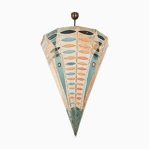 Large Handmade Batik Umbrella Lamp, 1960s