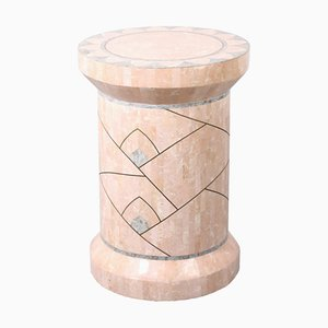 Pink Marble Stone Mosaic Column Plinth by Robert Marcius for Casa Bique, 1970s