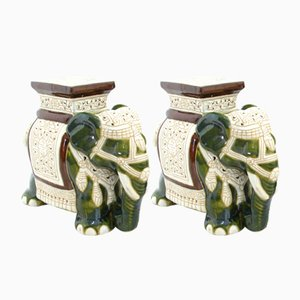 Ceramic Elephant Figurines, 1980s, Set of 2