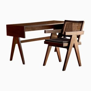 Chandigarh Desk and Chair Set by Pierre Jeanneret, 1950s