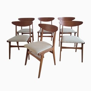 Danish Teak and Oak Dining Chairs in the Style of Hans Wegner, 1960s, Set of 6