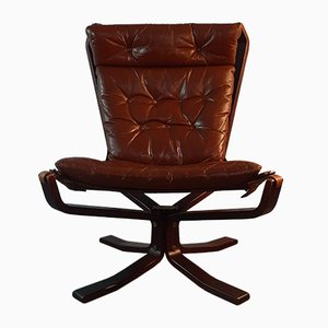 Vintage Danish Wood and Leather Lounge Chair by Sigurd Ressell for Trygg, 1970s