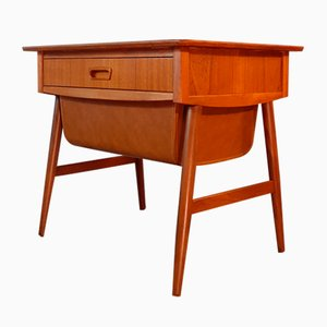 Vintage Scandinavian Teak and Leather Nightstand, 1960s