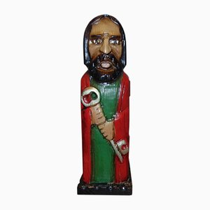 Vintage Wooden Saint Peter Sculpture, 1970s