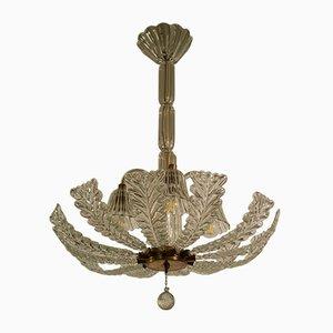 Lámpara de techo Art Déco vintage de cristal de Murano de Ercole Barovier para Barovier & Toso, años 30