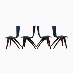 Blaue Vinyl Kunstleder Swing Stühle von Van Os, 1960er, 4er Set