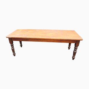 Large Pine Farmhouse Table on Turned Legs, 1900s