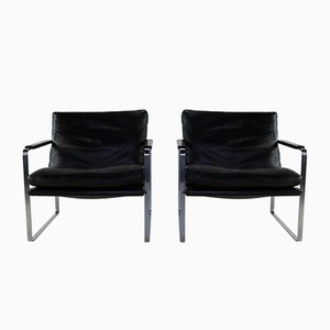 Black Leather Lounge Chairs by Preben Fabricius for Walter Knoll / Wilhelm Knoll, 1980s, Set of 2