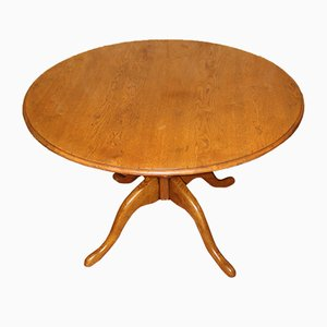Oak Round Dining Table, 1940s