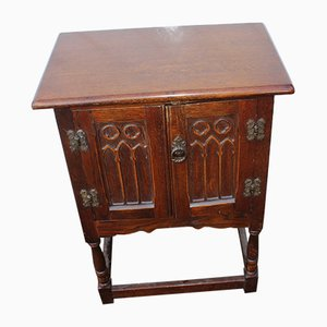 Gothic Style Oak Bedside Cabinet, 1940s