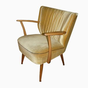 Mid-Century Beige Cocktail Chair with Armrests, 1950s