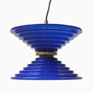 Blue Glass Ceiling Lamp, 1970s