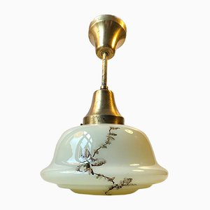 Danish Opaline Glass and Brass Funkis Pendant Lamp from Lyfa, 1930s