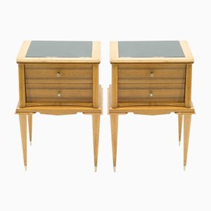 Brass and Sycamore Nightstands Attributed to Suzanne Guiguichon, 1950s, Set of 2