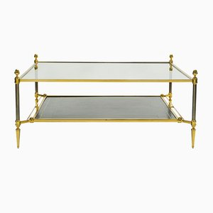 Neoclassical Style Brass, Leather & Glass Coffee Table from Maison Jansen, 1970s