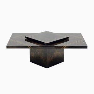 Brass Lacquered Bar Coffee Table by Guy Lefevre for Ligne Roset, 1970s