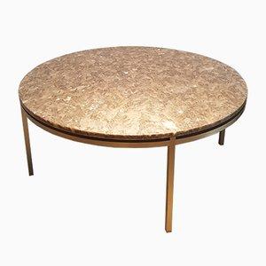 Tavolino da caffè in ottone e marmo, anni '60