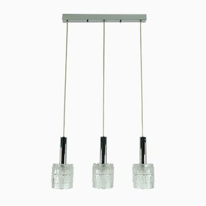 Mid-Century Glass and Chrome Chandelier from Hillebrand Lighting