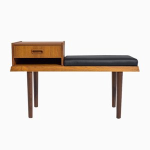 Mid-Century Scandinavian Norwegian Teak and Black Leather Bench, 1960s