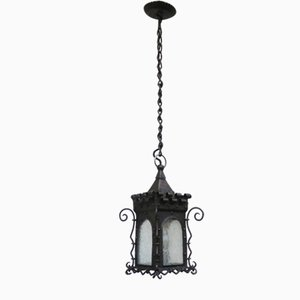 Art Nouveau Wrought Iron Lantern Ceiling Lamp