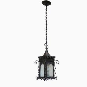 Plafonnier Lanterne Art Nouveau en Fer Forgé