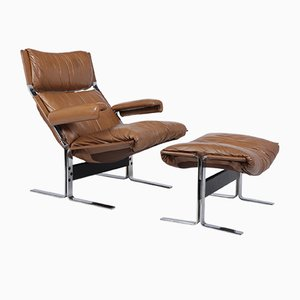Mid-Century Lounge Chair and Footstool Set by Richard Hersberger for Blico, 1970s
