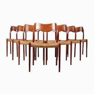 Mid-Century Teak Model 71 Dining Chairs by Niels Otto Møller, 1960s, Set of 8