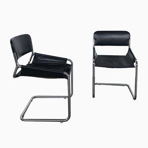 Chaises de Salon en Cuir et Métal Plaqué Chrome, 1970s, Set de 4