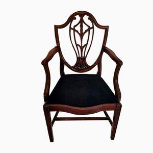 Silla de escritorio francesa Arts & Crafts antigua de caoba oscura, década de 1860
