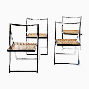 Folding Chairs in Chrome and Cane with Black Lacquered Frame, Italy, 1970s, Set of 4