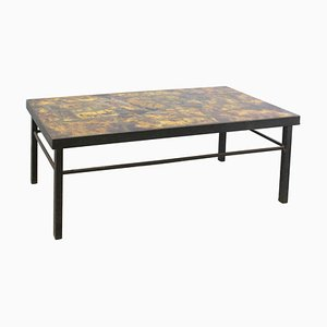 Mid-Century French Iron & Fawn Enamel Top Coffee Table in the Style of Cloutier Brothers, 1960s