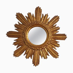 Mid-Century Gilded Wood Sunburst Stucco Wall Mirror, Italy, 1959