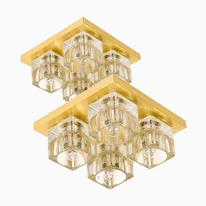 Brass and Glass Wall Ceiling Light from Peill & Putzler, 1960s