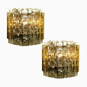 Mid-Century Wall Lights in Brass and Glass from Doria Leuchten, Germany, 1970s, Set of 2