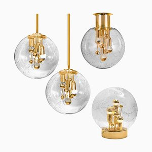 Space Age Brass and Blown Glass Fixtures, 1970s, Set of 4